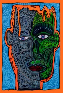 Robert Combas. Labyrinthe de têtes