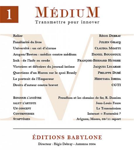Revue Médium N°1 - automne 2004