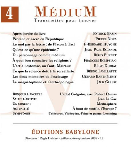 Revue Médium N°4  - juillet-août-septembre 2005