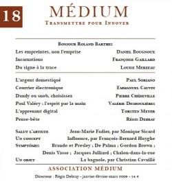 Revue Médium N°18 : Bonjour Roland Barthes - janvier-février-mars 2009