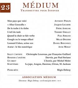Revue Médium N°23 - avril-mai-juin 2010