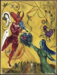 Marc Chagall (1887-1985). La Danse, 1950, huile sur toile. Centre Pompidou, Musée national d'art moderne Photo CNAC / MNAM Dist. RMN ADAGP, Paris 07