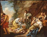 Jean-Baptiste- Marie Pierre (1714-1789). Laban cherchant ses idoles, Huile sur toile. Vers 1744.