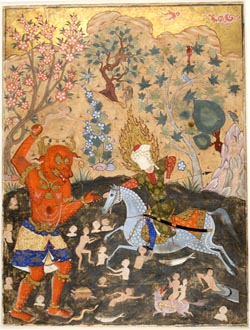Combat de Rostam et du dragon
