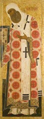 Icône : saint Pierre, métropolite de Moscou, Novgorod, milieu du XVIe siècle.