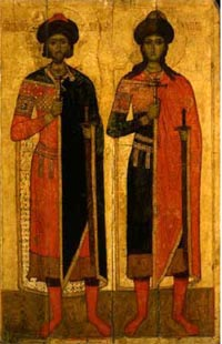 Icône : les saints Boris et Gleb, Novgorod, milieu du XIVe siècle.